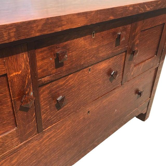 Antique Arts & Crafts Mission Tiger Oak Buffet Server Stickly Roycraft Era For Sale - Image 6 of 9