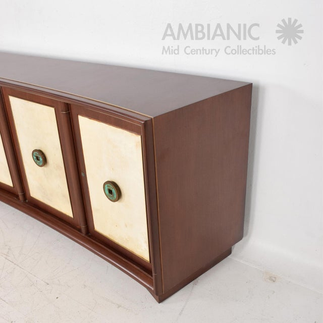 Art Deco Mid Century Mexican Modernist Mahogany Credenza W Mendoza Pulls & Goatskin For Sale - Image 3 of 8