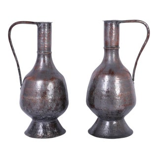 Antique Handcrafted Water Pitchers - A Pair For Sale