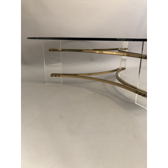 Gold Charles Hollis Jones Brass, Glass, and Lucite Coffee Table For Sale - Image 8 of 10