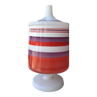 1960s Italian Striped Candy Jar For Sale