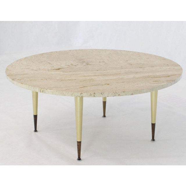 Italian Modern Round Travertine Top Coffee Table on Tapered Metal Legs Base For Sale - Image 11 of 11