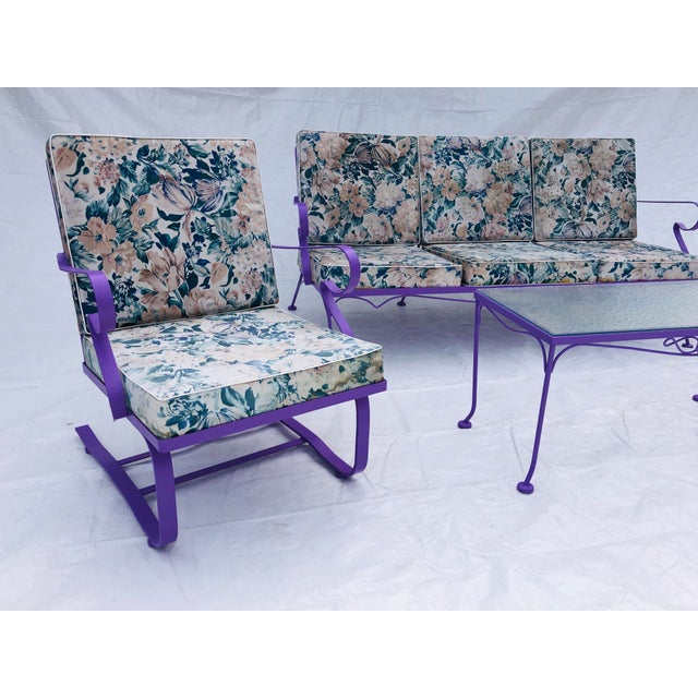 Modern Mid-Century Modern C. 1970s Fresh Violet Paint 5-Piece Outdoor Set For Sale - Image 3 of 13