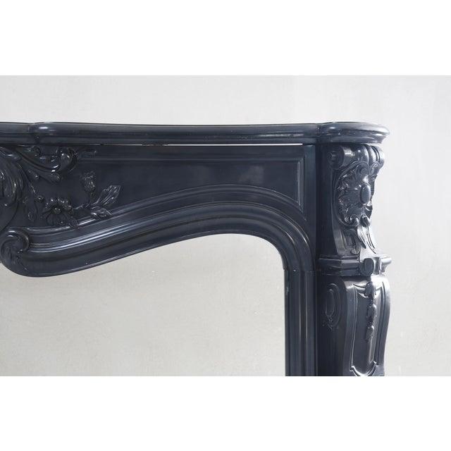 Black Marble Antique Marble Fireplace, Noir De Mazy, Louis Xv, 19th Century For Sale - Image 7 of 8