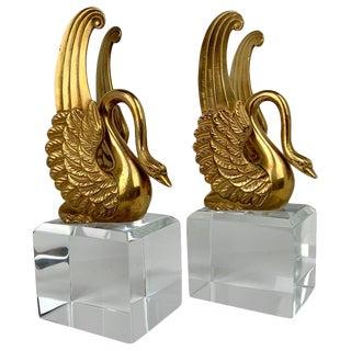 Mid 19th Century Empire Bronze Doré Swans - a Pair For Sale