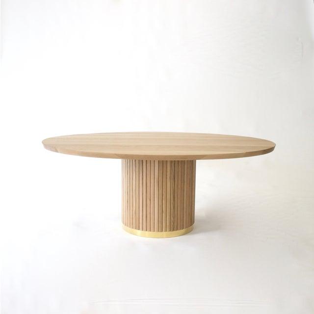 2010s Audubon Pedestal Oak Dining Table For Sale - Image 5 of 5