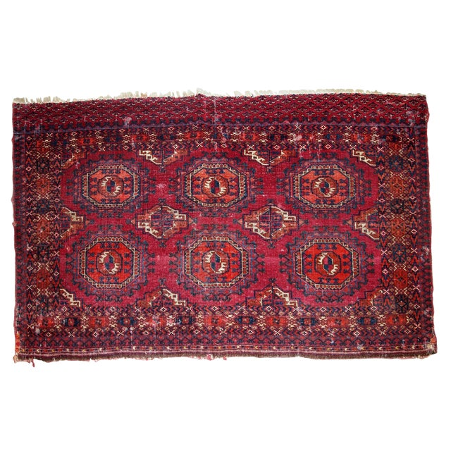 1880s, Handmade Antique Collectible Turkmen Saryk Rug 2.6' X 4.4' For Sale