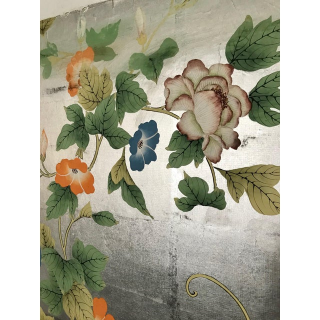 Gorgeous old handpainted wallpaper panel on hand applied silver metal leaf. Silver metal leafing has some tarnish and...