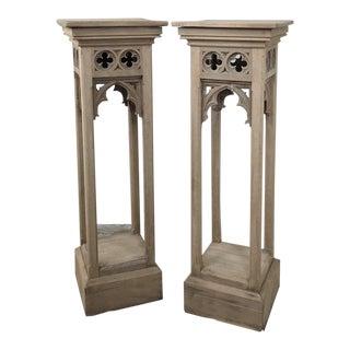 Pair 19th Century Gothic Stripped Oak Pedestals For Sale