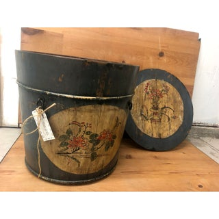Vintage Rare Antique Country Floral Bucket Hand Painted Preview