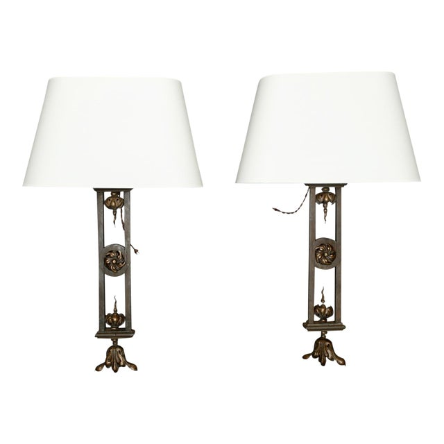 Tall Iron Sconces Made from Antique Balustrades - a Pair For Sale
