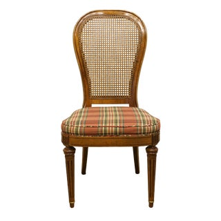 Late 20th Century Italian Neoclassical Cane Back Dining Side Chair For Sale