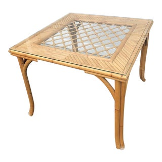 1980s Vintage Rattan Bamboo Glass Topped Square Square Table For Sale