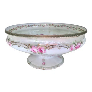 19th Century Art Nouveau Painted Pink Roses Footed Bowl For Sale