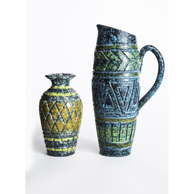Blue & Yellow Incised Pottery Vases - a Pair - Image 2 of 5