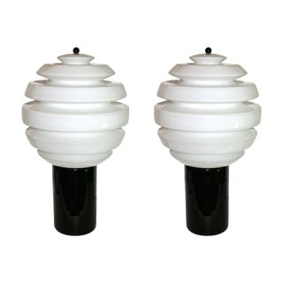 1980s Italian Black and White Murano Glass Table or Floor Lamps - a Pair For Sale