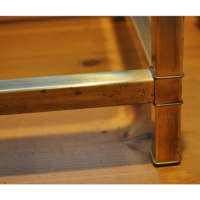 Brass 1970 Hollywood Regency Mastercraft Brass and Glass Low Profile Side Tables - a Pair For Sale - Image 7 of 11