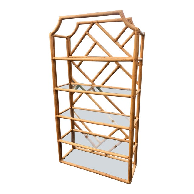 Vintage Tall Bamboo Etagere For Sale
