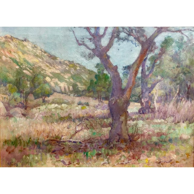 Impressionism Charles Fries -Oaks & Hills Near Mussey Grade- California Oil Painting For Sale - Image 3 of 10