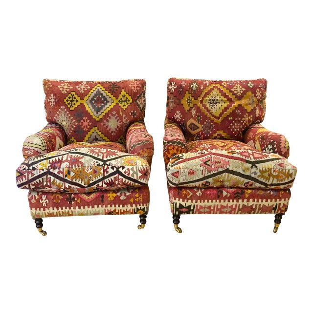 George Smith Kilim Chairs - a Pair For Sale