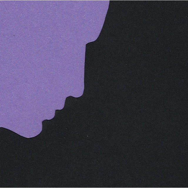 Minimal profile of a woman; the stately outline of her face is created by the purple ground backing a void cut into the...