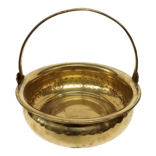 Vintage Hammered Solid Brass WM Rogers Planter For Sale