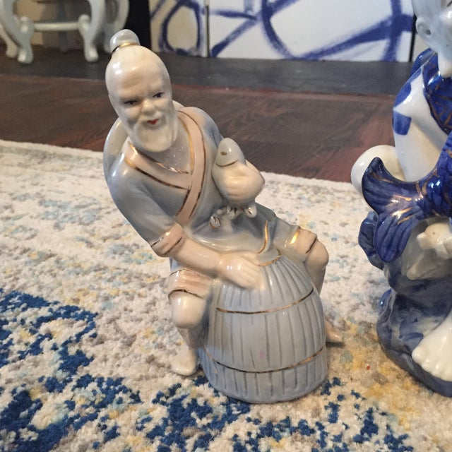 Chinoiserie Asian Man Fisherman Figurines - Set of 3 For Sale - Image 5 of 9