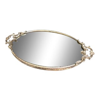 1930s Art Deco Silver Handled Mirror Tray For Sale