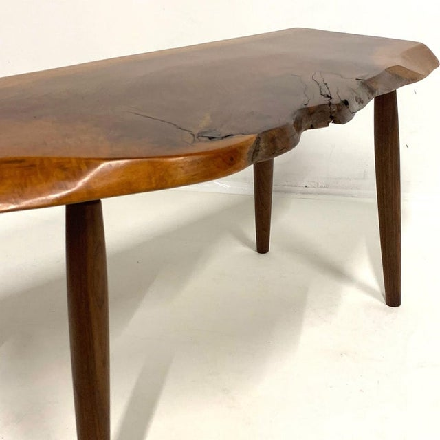Studio Craft Walnut Live Edge Roy Sheldon Tables Signed - Set of 3 For Sale In New York - Image 6 of 13