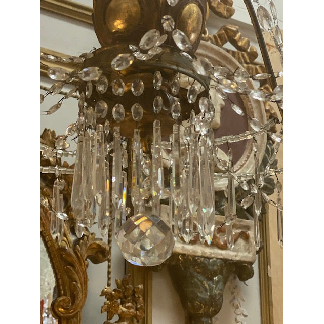 Gold 19th C. Italian Antique Element Carved Wood, Iron and Crystal Chandelier For Sale - Image 8 of 13