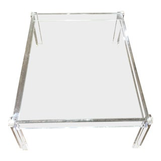 Glass and Acrylic Rectangle Coffee Table For Sale