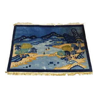 1940s Antique Chinese Wool Pictoral Rug For Sale