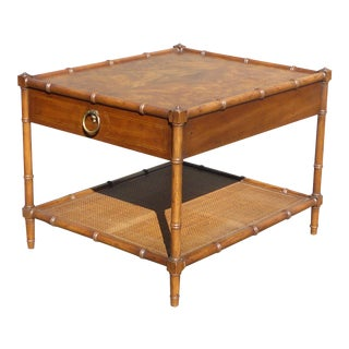 Vintage Drexel Heritage Faux Bamboo Burl Wood & Cane Side Table For Sale