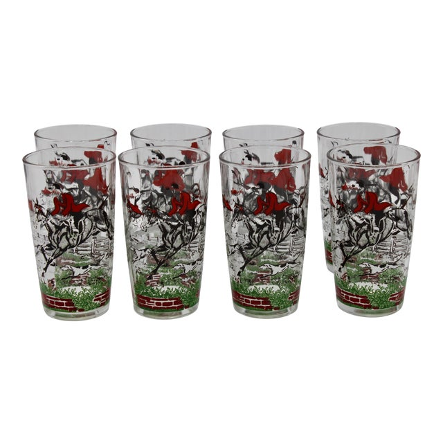 1950s English Fox Hunt High Ball Drinking Glasses - Set of Eight For Sale