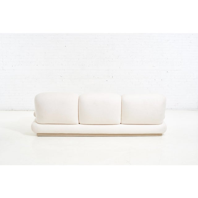 Textile Modern Drama White Boucle Pouf Sofa For Sale - Image 7 of 11