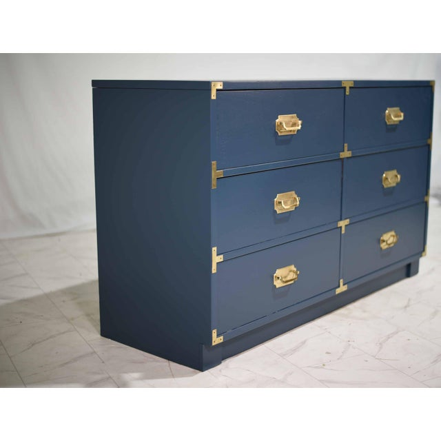 Mid-Century Modern 1970s Blue Six Drawer Campaign Dresser or Chest - Newly Painted For Sale - Image 3 of 12