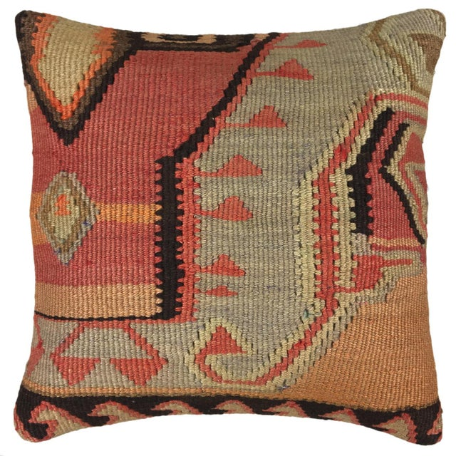 """Boho Chic Rug & Relic Kilim Pillow   16"""" For Sale - Image 3 of 3"""