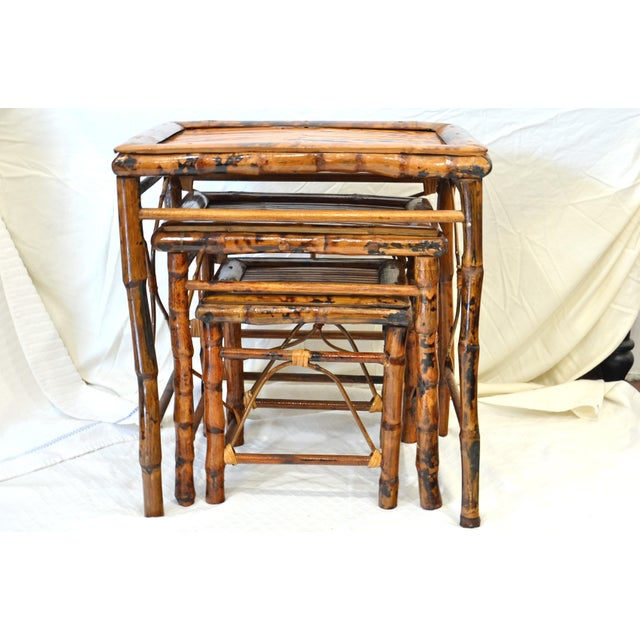 Vintage Bamboo Nesting Tables - Set of 3 For Sale In Chicago - Image 6 of 7