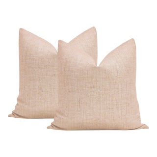 "22"" Metallic Linen Rose Gold Pillows - a Pair For Sale"