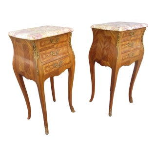 Antique French Louis XV Style Nightstands-A Pair For Sale