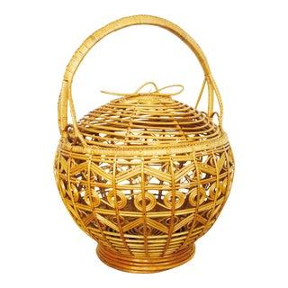 Vintage Large Rattan Basket For Sale