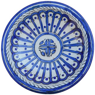 Blue Moroccan Ceramic Plate For Sale