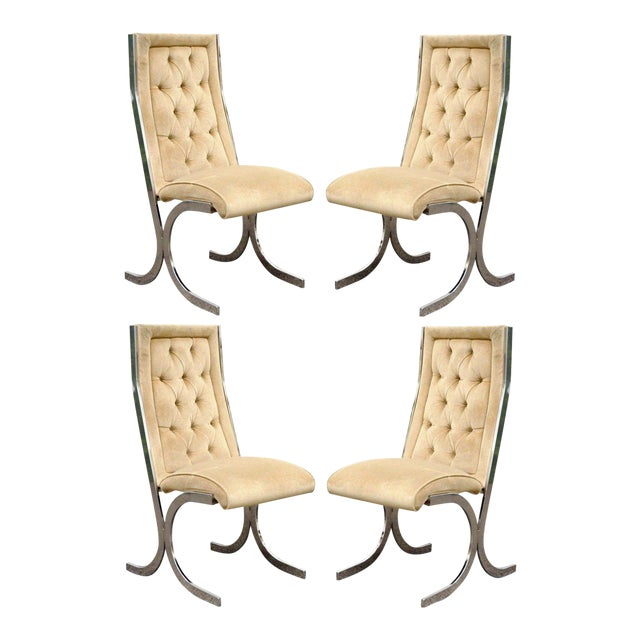 4 Vintage Mid Century Modern Chrome X-Form Tufted Dining Chairs Milo Baughman Era For Sale