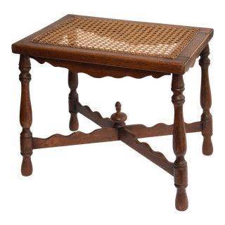 Antique English Oak & Cane Seat Stool