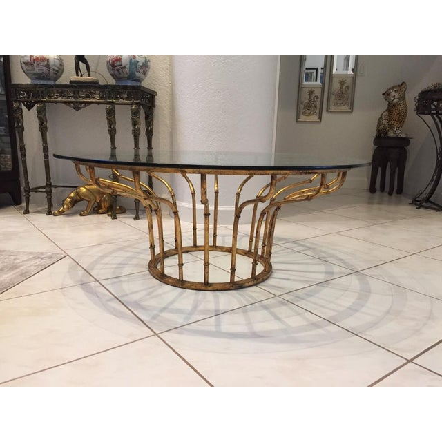 Boho Chic Gilt Faux Bamboo Circular Coffee Table For Sale - Image 4 of 5