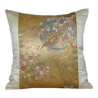 "Japanese ""Cranes in Flight"" Gold Metallic and Silk Obi Pillow Cover For Sale"