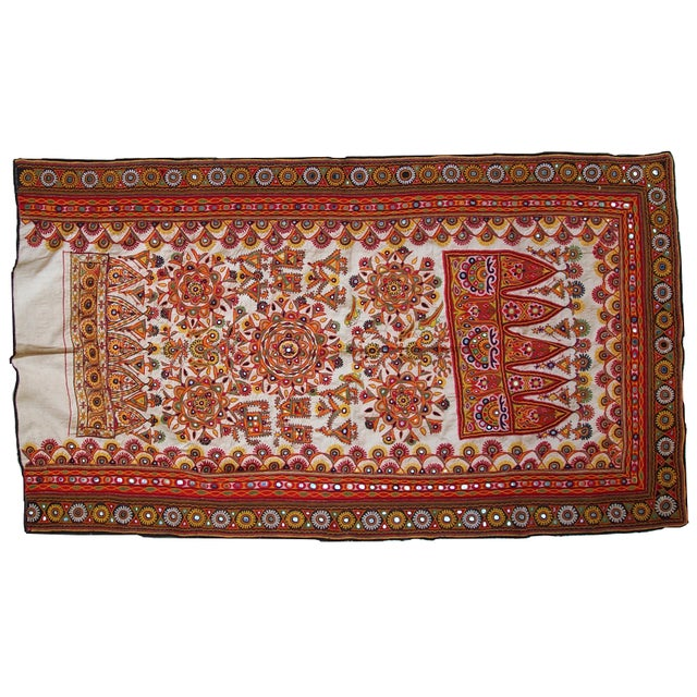 1950s Indian Embroidered Wall Tapestry For Sale - Image 9 of 10