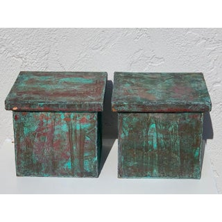 Pair of Industrial Patinated Copper Capitals or Pedestals Preview