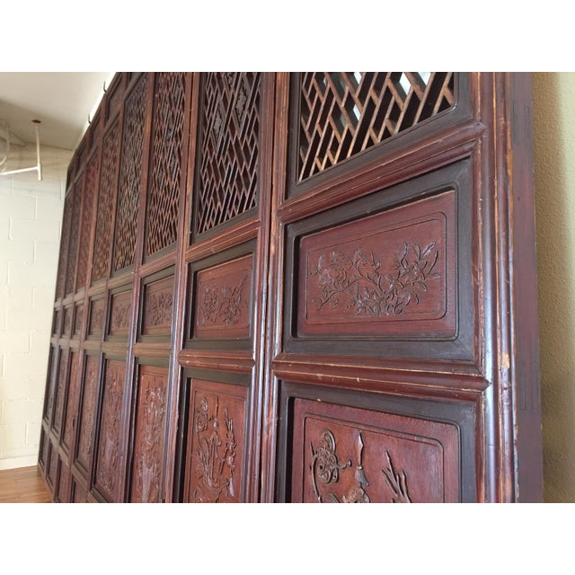 Antique Chinese Carved Wood Doors - Set of 4 For Sale In Seattle - Image 6 of 12