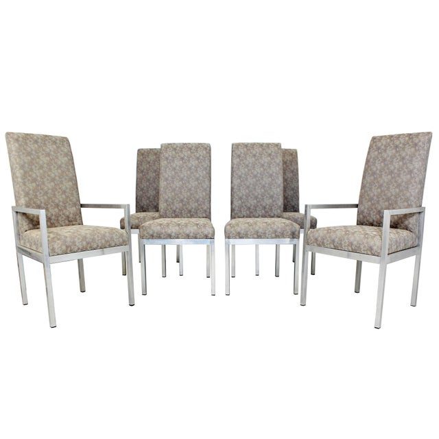 Mid-Century Modern Set of Six Milo Baughman for Dia Chrome Dining Chairs For Sale - Image 10 of 10